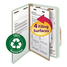 100% Recycled Pressboard Classification Folders, 1 Divider, Legal Size, Gray-Green, 10/Box