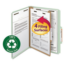100% Recycled Pressboard Classification Folders, 1 Divider, Letter Size, Gray-Green, 10/Box