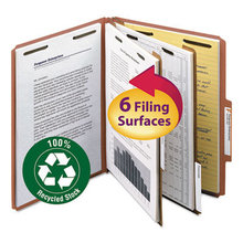100% Recycled Pressboard Classification Folders, 2 Dividers, Letter Size, Red, 10/Box