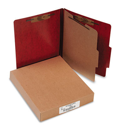 View larger image of 20 pt. PRESSTEX Classification Folders, 1 Divider, Letter Size, Red, 10/Box