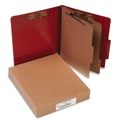 View larger image of 20 pt. PRESSTEX Classification Folders, 2 Dividers, Letter Size, Red, 10/Box