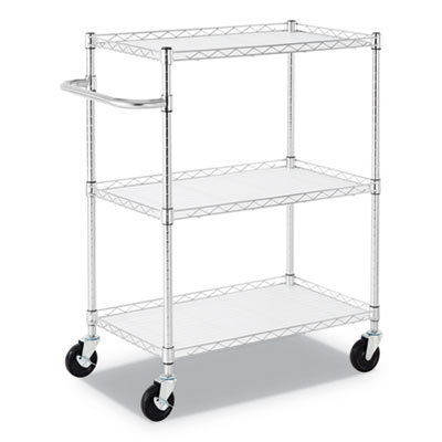 View larger image of 3-Shelf Wire Cart with Liners, 34.5w x 18d x 40h, Silver, 600-lb Capacity