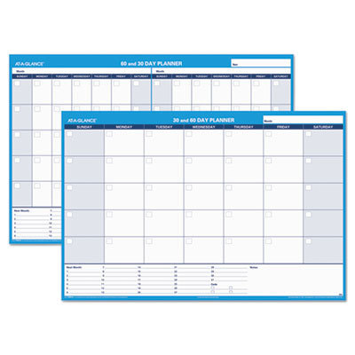 View larger image of 30/60-Day Undated Horizontal Erasable Wall Planner, 48 x 32, White/Blue,