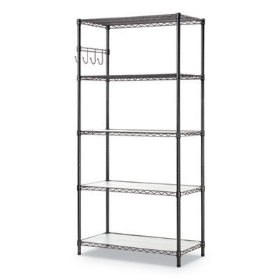 View larger image of 5-Shelf Wire Shelving Kit with Casters and Shelf Liners, 36w x 18d x 72h, Black Anthracite