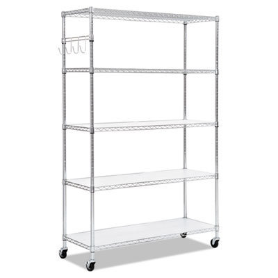View larger image of 5-Shelf Wire Shelving Kit with Casters and Shelf Liners, 48w x 18d x 72h, Silver
