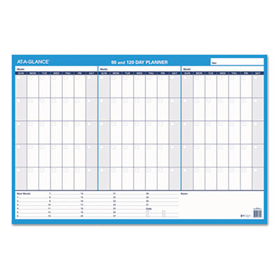 View larger image of 90/120-Day Undated Horizontal Erasable Wall Planner, 36 x 24, White/Blue,
