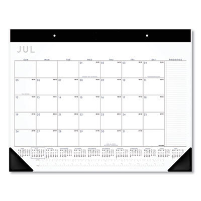 View larger image of Academic Monthly Desk Pad, 21.75 x 17, Black/White, 2020-2021