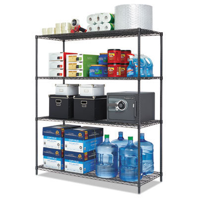 View larger image of All-Purpose Wire Shelving Starter Kit, 4-Shelf, 60 x 24 x 72, Black Anthracite Plus