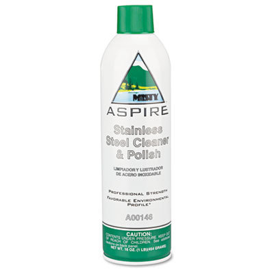 View larger image of Aspire Stainless Steel Cleaner and Polish, Lemon Scent, 16 oz Aerosol, 12/Carton
