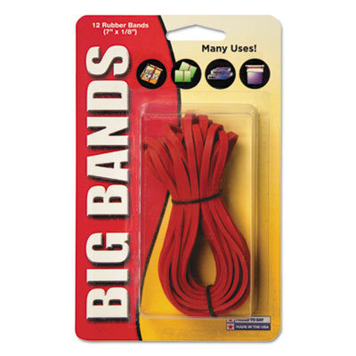 """View larger image of Big Bands Rubber Bands, Size 117B, 0.06"""" Gauge, Red, 12/Pack"""