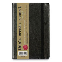Bonded Leather Journal, Black Cover, 3.56 x 5.5, 192 Ivory Pages