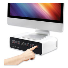 Cable Management Power Hub and Stand with USB Charging Ports, 5 Outlets, 3 USB, 6.5 ft Cord, 11.75 x 6.6 x 3.5, White