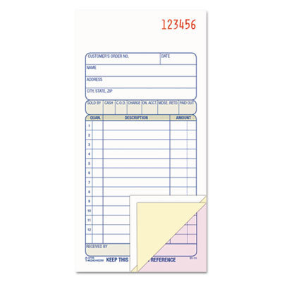 View larger image of Carbonless Sales Order Book, Three-Part Carbonless, 3 1/4 x 7 1/8, 50 sheets