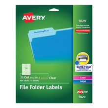 Clear Permanent File Folder Labels with Sure Feed Technology, 0.66 x 3.44, Clear, 30/Sheet, 15 Sheets/Pack