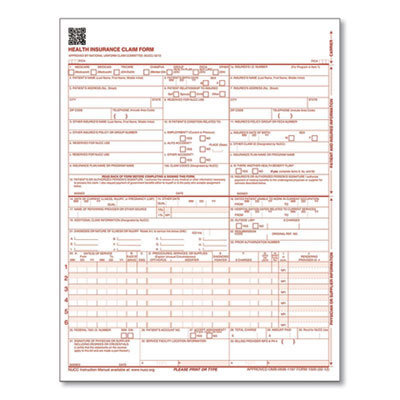 View larger image of CMS Health Insurance Claim Form, One-Part, 8.5 x 11, 100 Forms