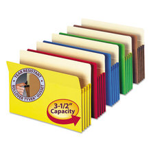 """Colored File Pockets, 3.5"""" Expansion, Letter Size, Assorted, 5/Pack"""