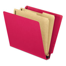 Colored Pressboard End Tab Classification Folders, 2 Dividers, Letter Size, Red, 10/Box