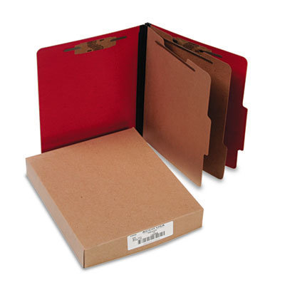 View larger image of ColorLife PRESSTEX Classification Folders, 2 Dividers, Letter Size, Executive Red, 10/Box