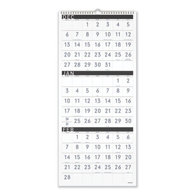 View larger image of Contemporary Three-Monthly Reference Wall Calendar, 12 x 27, 2020-2022