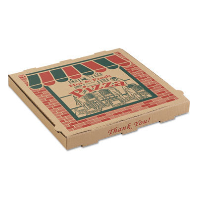 View larger image of Corrugated Pizza Boxes, 10 x 10 x 1 3/4, Kraft, 50/Carton