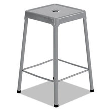 """Counter-Height Steel Stool, 25"""" Seat Height, Supports up to 250 lbs., Silver Seat/Silver Back, Silver Base"""