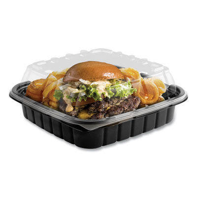 View larger image of Crisp Foods Technologies Containers, 33 oz, 8.46 x 8.46 x 3.16, 1 Compartment, Clear/Black, 180/Carton