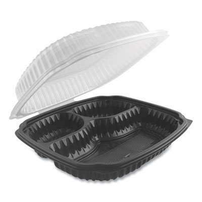 View larger image of Culinary Lites Microwavable 3-Compartment Container, 26 oz/7 oz/7 oz, 9 x 9 x 3.01, Clear/Black, 100/Carton