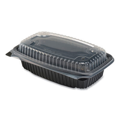 View larger image of Culinary Lites Microwavable Container, 34 oz, 9.55 x 6.65 x 3.04, Clear/Black, 100/Carton