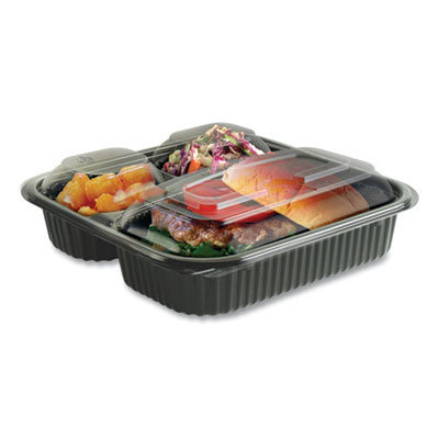View larger image of Culinary Squares 2-Piece/3-Compartment Microwavable Container, 21 oz/6 oz/6 oz, 8.46 x 8.46 x 2.5, Clear/Black, 150/Carton