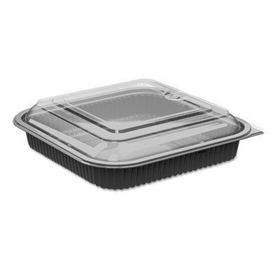 View larger image of Culinary Squares 2-Piece Microwavable Container, 36 oz, Clear/Black, 8.46 x 8.46 x 2.25,150/Carton