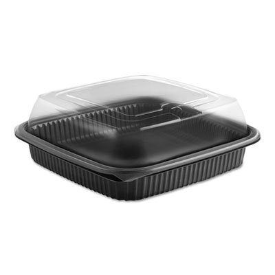 View larger image of Culinary Squares 2-Piece Microwavable Container, 36 oz, Clear/Black, 8.46 x 8.46 x 2.91,150/Carton