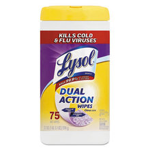 Dual Action Disinfecting Wipes, Citrus, 7 x 8, 75/Canister, 6/Carton