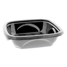EarthChoice PET Container Bases, 7 x 7 x 1.52, 24 oz, 1-Compartment, Black, 300/Carton