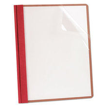 Earthwise by Oxford Recycled Clear Front Report Covers, Letter Size, Red, 25/Box