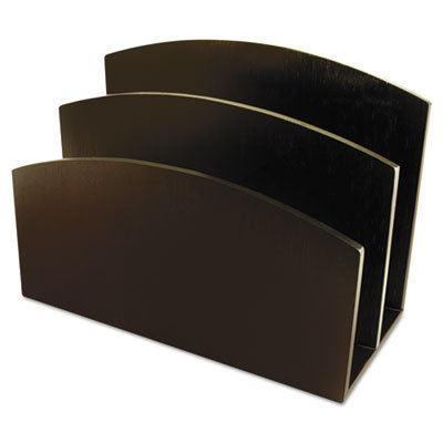 """View larger image of Eco-Friendly Bamboo Curves Letter Sorter, 2 Sections, DL to A6 Size Files, 7.13"""" x 3.25"""" x 5.13"""", Espresso Brown"""