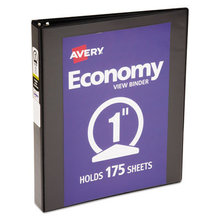 """Economy View Binder with Round Rings , 3 Rings, 1"""" Capacity, 11 x 8.5, Black, (5710)"""