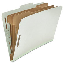 Eight-Section Pressboard Classification Folders, 3 Dividers, Legal Size, Gray, 10/Box