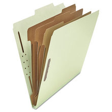 Eight-Section Pressboard Classification Folders, 3 Dividers, Letter Size, Gray-Green, 10/Box