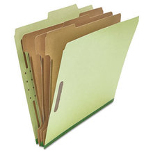 Eight-Section Pressboard Classification Folders, 3 Dividers, Letter Size, Green, 10/Box