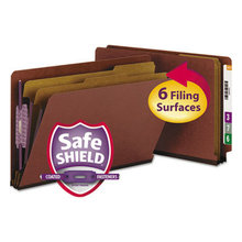 End Tab Pressboard Classification Folders with SafeSHIELD Coated Fasteners, 2 Dividers, Legal Size, Red, 10/Box