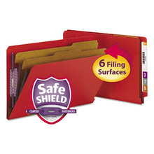 End Tab Pressboard Classification Folders with SafeSHIELD Fasteners, 2 Dividers, Legal Size, Bright Red, 10/Box