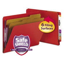 End Tab Pressboard Classification Folders with SafeSHIELD Fasteners, 2 Dividers, Letter Size, Bright Red, 10/Box