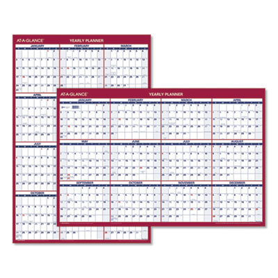 View larger image of Erasable Vertical/Horizontal Wall Planner, 24 x 36, Blue/Red, 2021