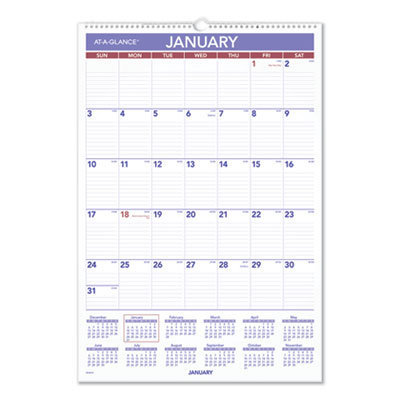View larger image of Erasable Wall Calendar, 15.5 x 22.75, White, 2021