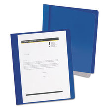 Extra-Wide Clear Front Report Covers, Letter Size, Dark Blue, 25/Box