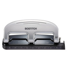 EZ Squeeze Three-Hole Punch, 20-Sheet Capacity, Black/Silver