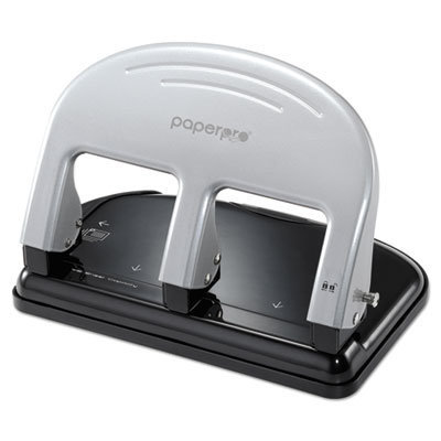 View larger image of EZ Squeeze Three-Hole Punch, 40-Sheet Capacity, Black/Silver