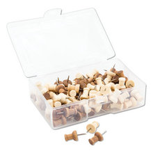 """Fashion Push Pins, Wood, Assorted, 3/8"""", 100/Pack"""