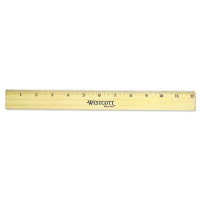 """View larger image of Flat Wood Ruler w/Two Double Brass Edges, 12"""", Clear Lacquer Finish"""