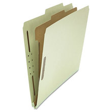 Four-Section Pressboard Classification Folders, 1 Divider, Letter Size, Gray-Green, 10/Box